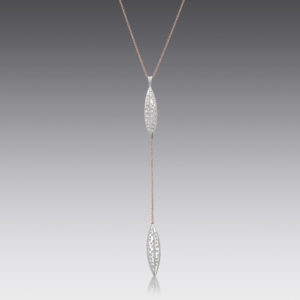 Diamond Leaf Lariat Necklace