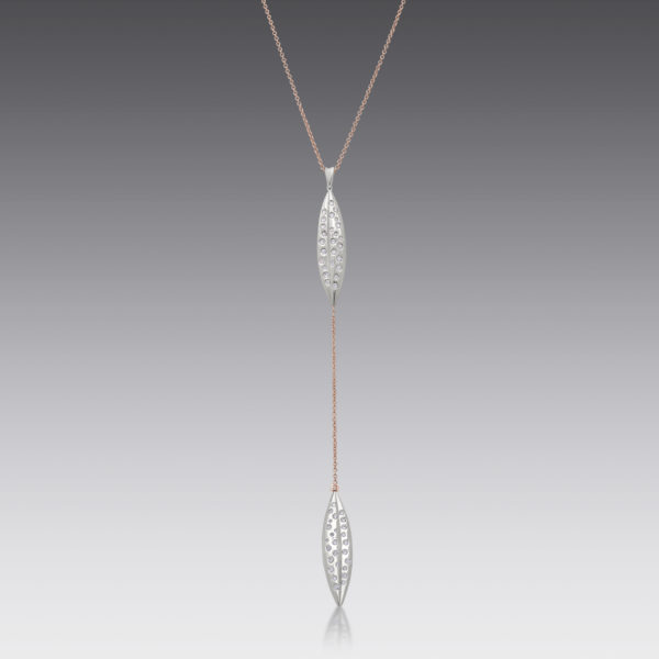 Diamond Leaf Lariat Necklace
