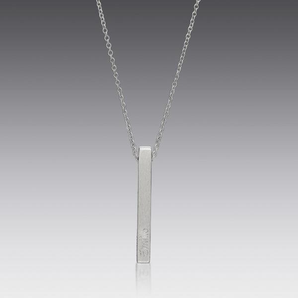 Personalized Platinum Square Bare Pendant