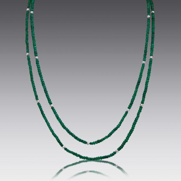 Boho Emerald Beaded Necklace