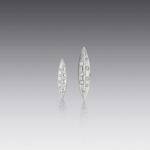 Small Diamond Leaf Earring