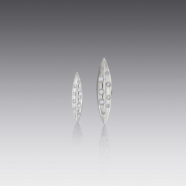 Small Diamond Leaf Earring