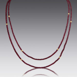 Boho Ruby Beaded Necklace
