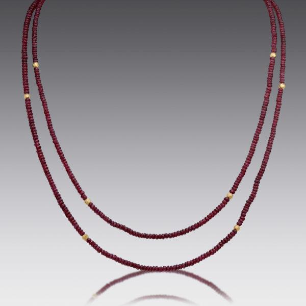 Boho Ruby Beaded Necklace