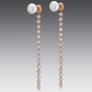 Baubles Pearl Stud and Diamond Drop Earrings