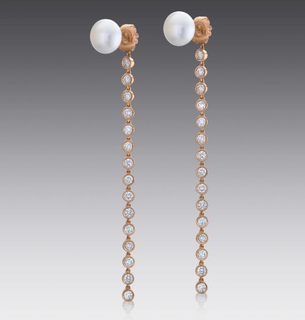 Baubles Pearl Stud and Diamond Drop Earrings