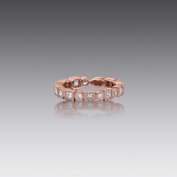 Gia Mixed Diamond Stack Band Ring