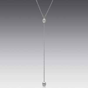 Skull White Gold Lariat Necklace