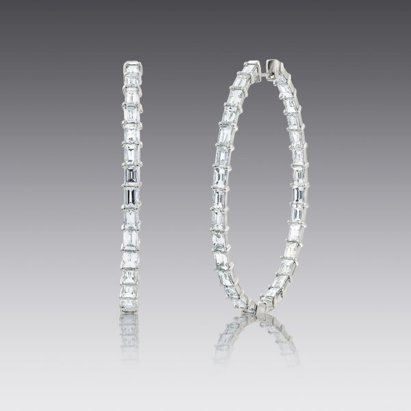 Dylan Diamond Baguette Hoop Earrings
